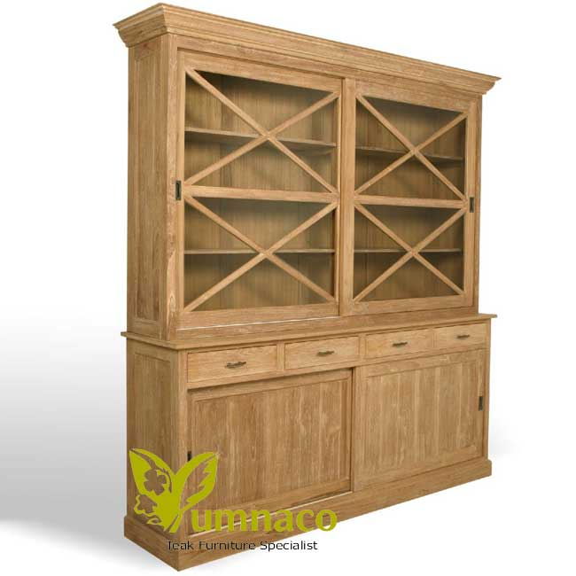 Indonesian Reclaimed Teak Furniture Bookcase Sliding Door